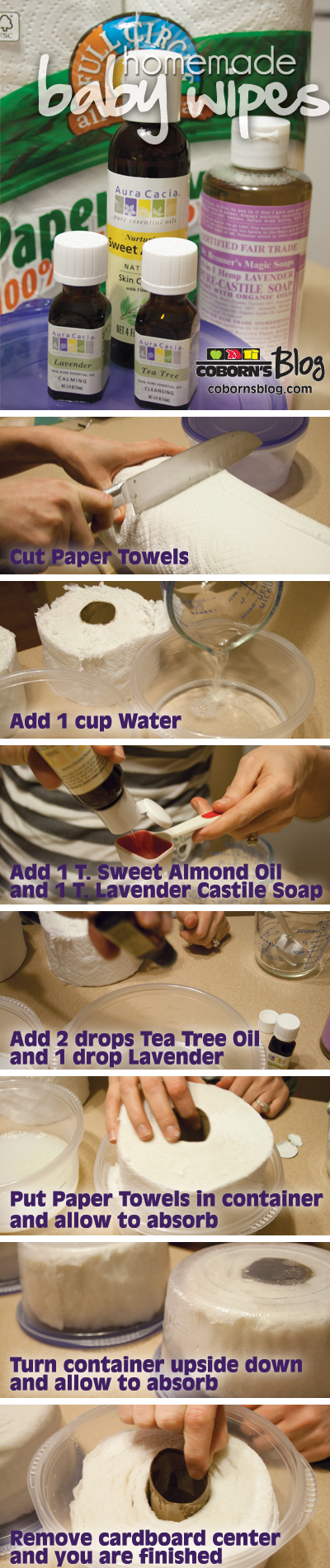 How to make homemade baby wipes.