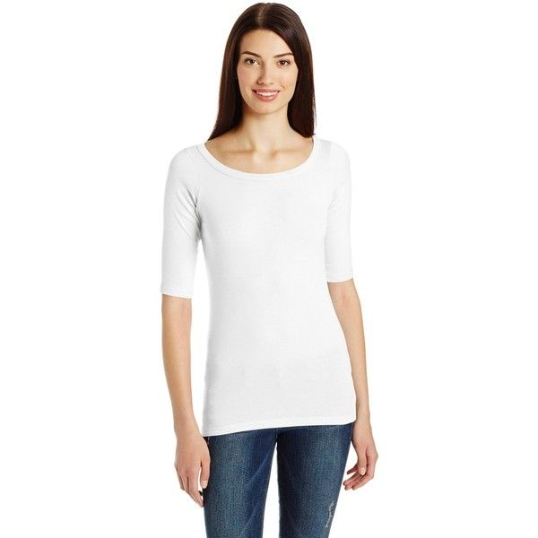 Michael Stars Women's Elbow Sleeve Wide Scoop Neck Tee Shirt ($14) ❤ liked  on