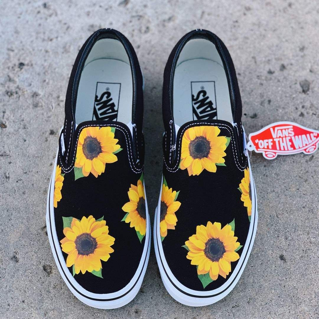 Sunflower Black Slip On in 2020 | Custom vans shoes, Vans