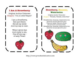 Preschool Printables Fruit Freebie Preschool Songs Preschool