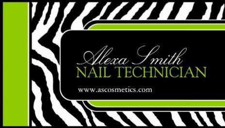 Modern lime green accents on trendy zebra print nail technician manicurist and nail salon business cards reheart Gallery