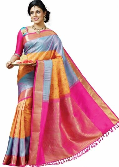 639d1f7839db4d Shreedevi Textile Coimbatore Orange with Pink Colored Stylish Bridal Pure  Kanchipuram Silk Saree http:/