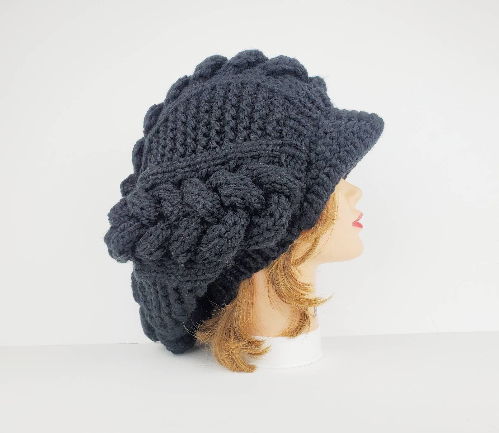 Chunky Knit Hat For Women Newsboy Cap Slouchy Beanie Etsy Knitted Hats Chunky Knit Hat Crochet Newsboy Hat