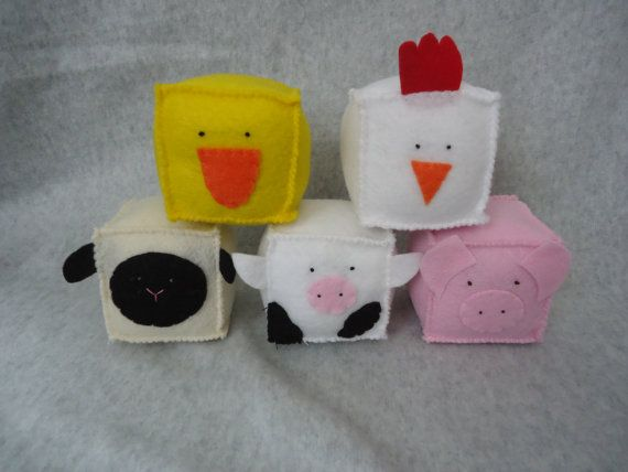 Farm Animal Felt Blocks  FREE SHIPPING US by Tuscanycreative, $30.00