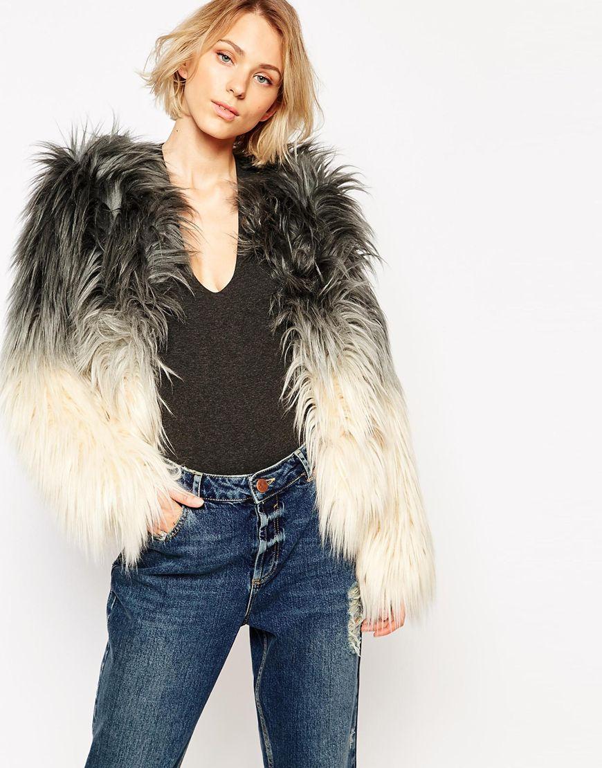 image 1 of barney's originals ombre faux fur coat   s p r i n g