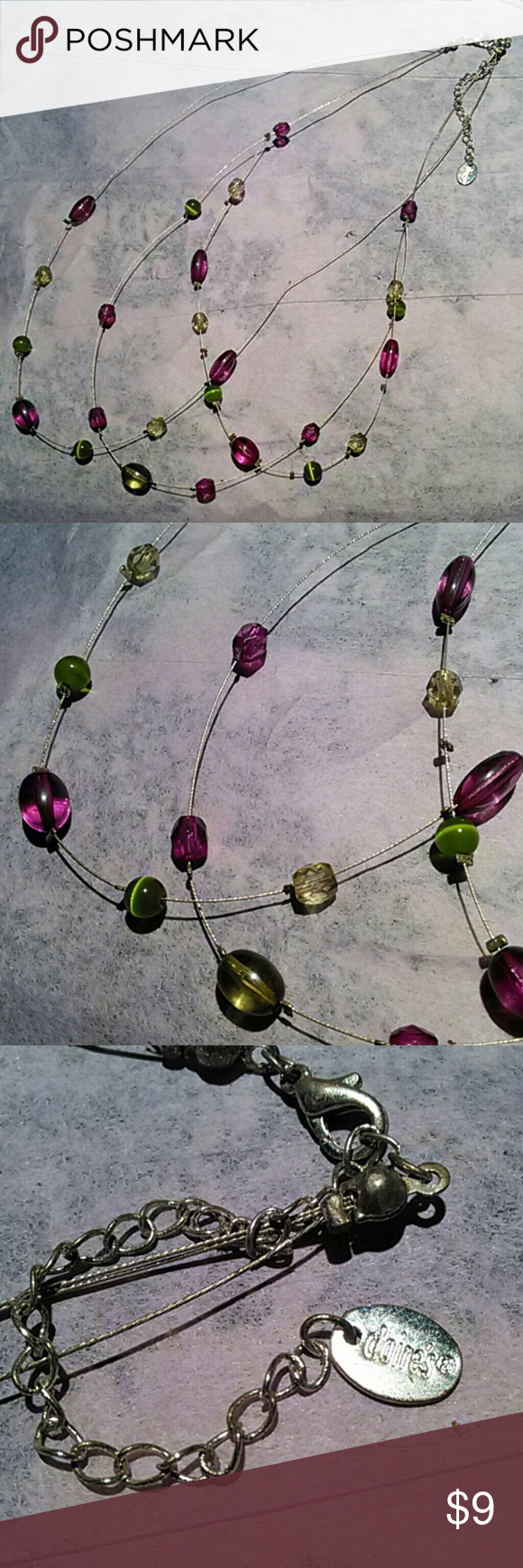 Claire's necklace Green cat's eye and purple beads. 18 Inches long' Claire's Jewelry Necklaces