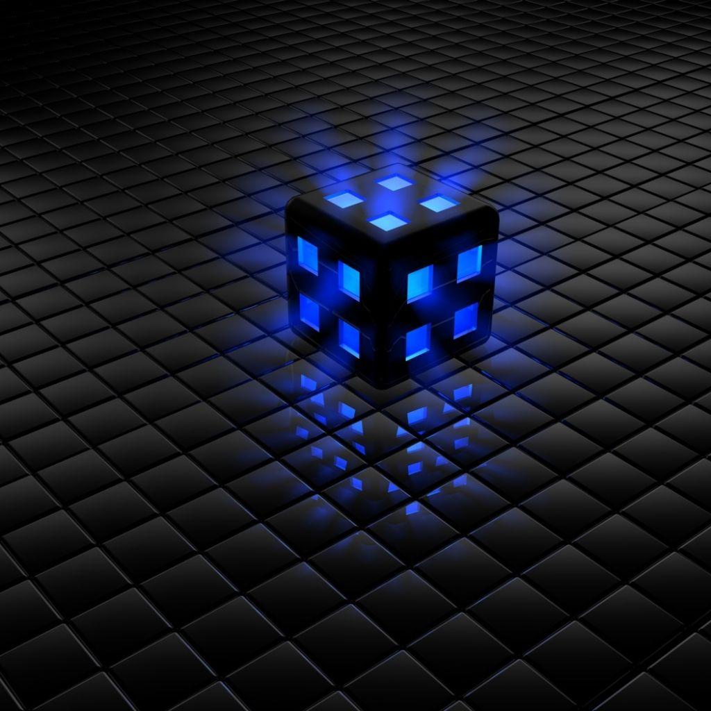 Glow Cube Black Blue 3d Cube Wallpaper Feeling Blue Color