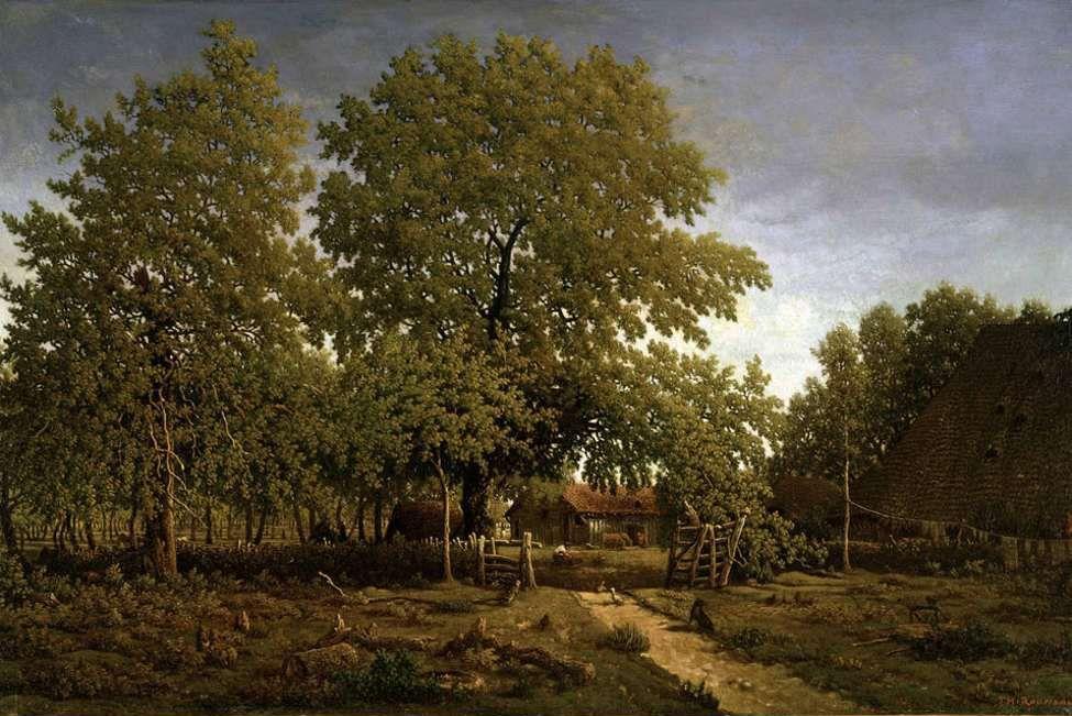 Pierre Etienne Theodore Rousseau Farm In The Landes Oil On Canvas Impressionismo Immagini Arte