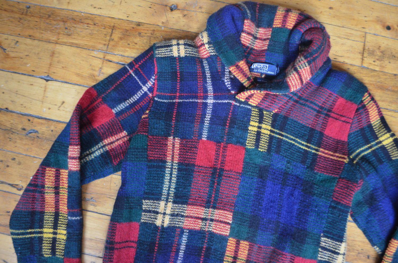 Vintage ss ralph lauren polo wool longsleeve high collar