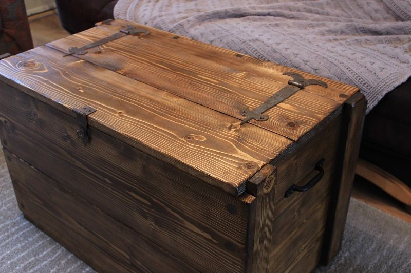 Rustic Wooden Chest Trunk Blanket Box Vintage Coffee Table