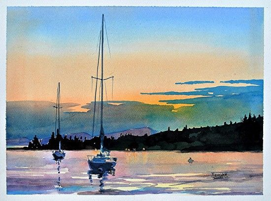 Spencer Meagher - Sunset Over The Sawtooth- Watercolor - Painting entry - July 2016 | BoldBrush Painting Competition