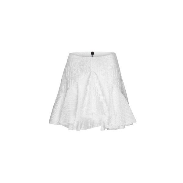 Alex Perry Laurel Silk Reptile Ruffle Mini ($895) ❤ liked on Polyvore featuring skirts, mini skirts, flounce skirt, flared skirt, frilly skirts, white silk skirt and white skirt