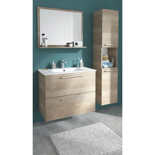 Meuble de salle de bains décor bois naturel 80 cm Noé - CASTORAMA ...