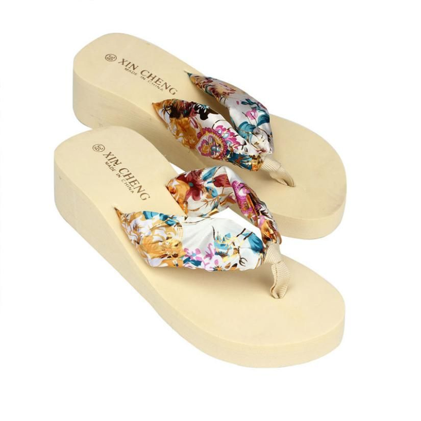 90d1e3dddcb4a4 zapatos mujer Bohemia Floral Beach Shoes Wedge Platform Thongs Slippers  Flip Flops Drop Shipping unicornio women s shoes A0 Price   9.95   FREE  Shipping ...