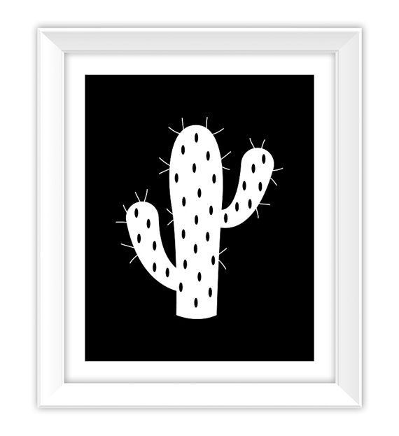 Photo of Black and White Cactus Print Cactus Plant Garden Art Print Cactus Printable
