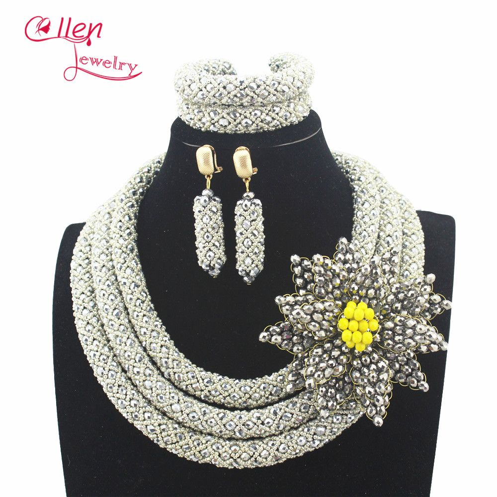 Silver plated stylish nigerian wedding african beads jewelry set