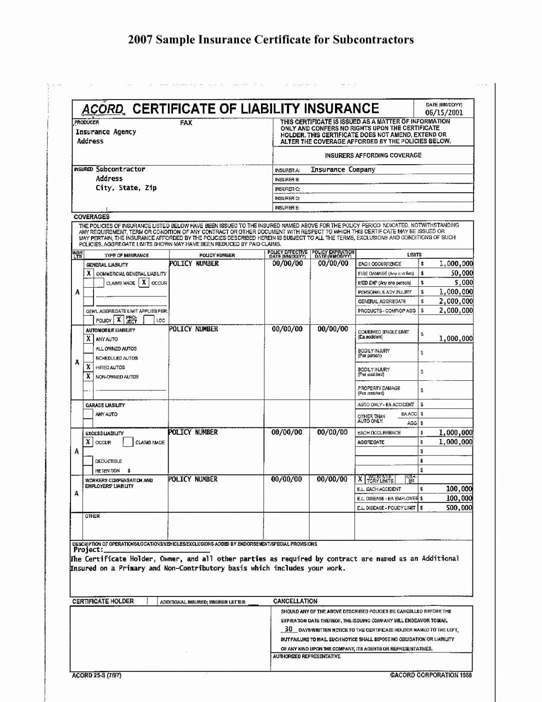 The cool Editable Form Ificate Of Liability Insurance What