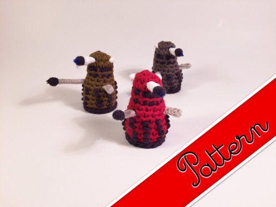 "PDF Pattern for Crocheted Dalek from Doctor Who Kawaii Keychain Miniature Doll ""Pod People"""