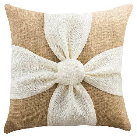 Detalle en mo o en liston al color en turno segundo cojin sofa navidad flores de arpillera - Hacer cojines sofa ...