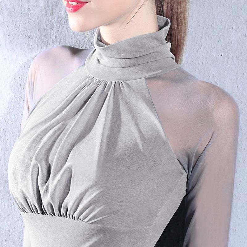 Women's Elegant Semi Mesh Pleated Turtleneck Blous