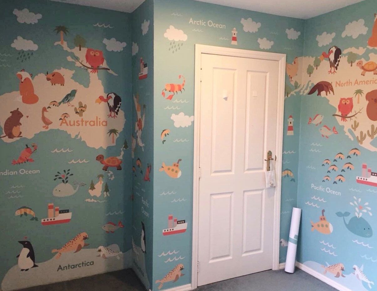 Removable Wallpaper, Peel and stick wallpaper, world map
