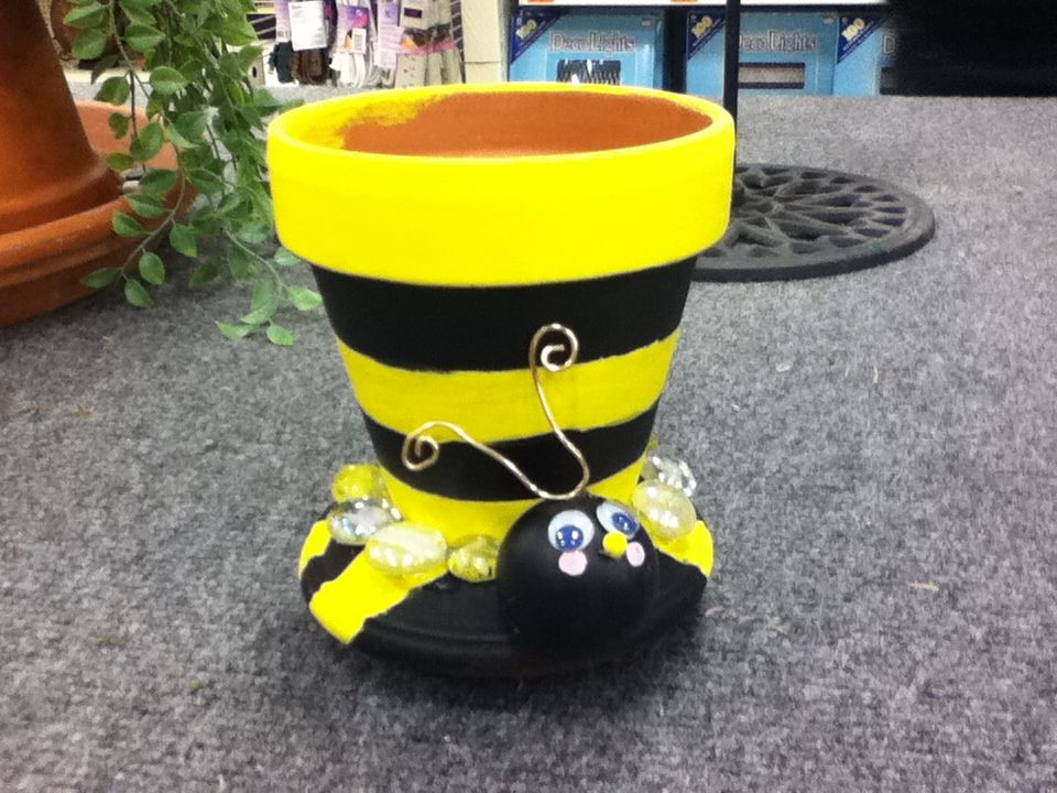 tiny Bumblebee painted pot with seed planted inside to ...