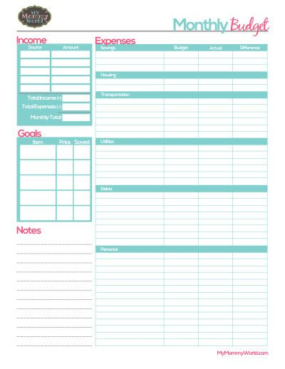free printable monthly budget form budget pinterest budgeting