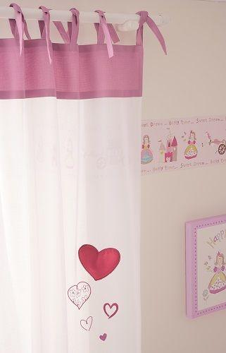 Cortina infantil con corazones cortinas y muebles - Cortina habitacion infantil ...