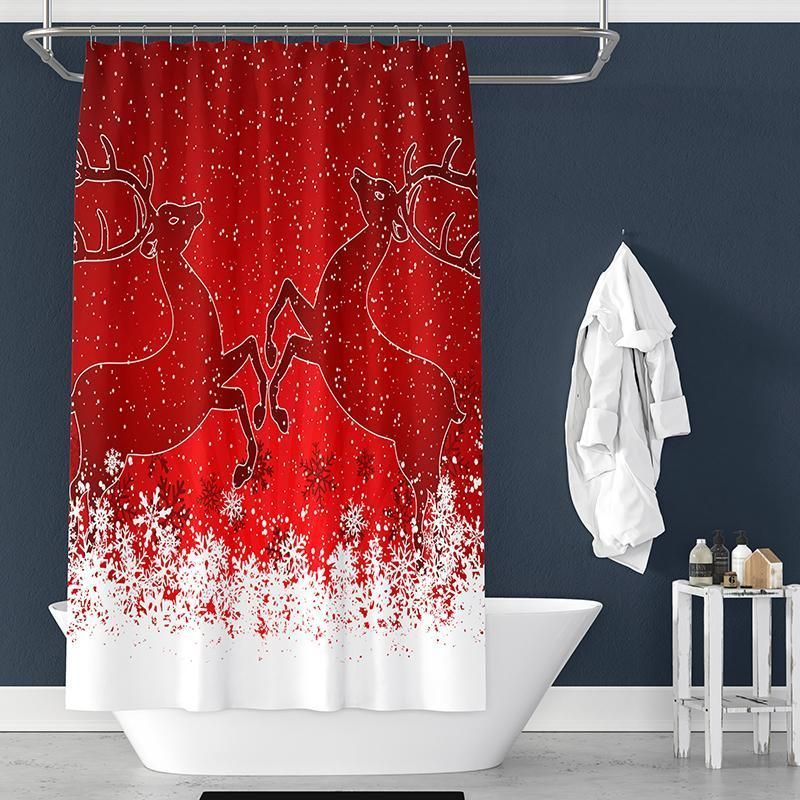Snowflake Deer Pattern Christmas Shower Curtain For Bathroom