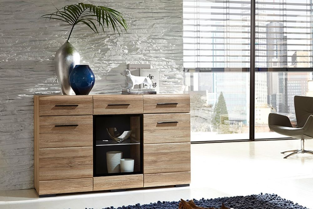 FEVER BRW furniture will be ideal for creating a stylish living room. Body is made of chipboard and fronts are made of MDF and have a lovely curved finish on the edges. Glass-fronted middle door is in slightly tinted glass with black edging frame. | eBay!