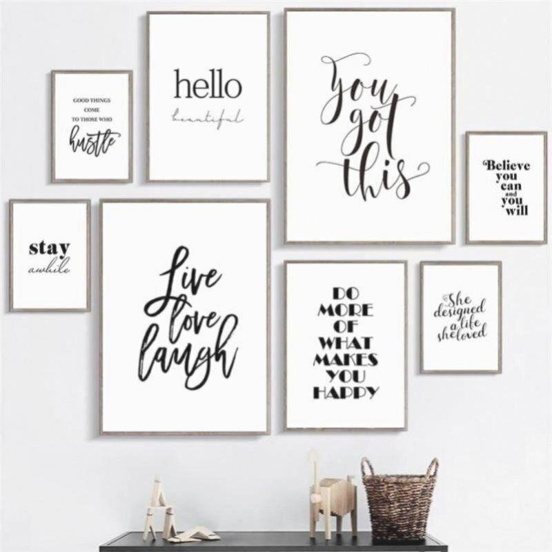 Leben Lieben Lachen Inspirierende Zitate Wand Kunst Leinwand Gemalde Schwarz Weiss Wand Poster Drucke Fur Das Woh 2020 Duvar Alintilari Ic Tasarim Ofisler Cerceve
