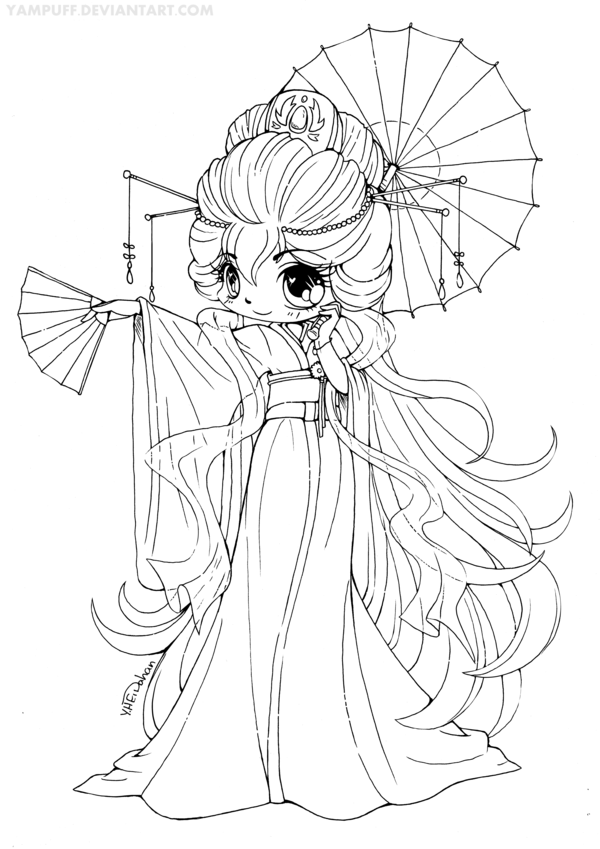 Permission to color. Magnificent Kimono Chibi Lineart: CONTEST! by YamPuff.deviantart.com on @deviantART
