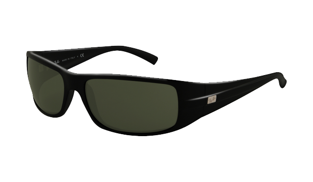 f8418c0a3f Ray Ban RB4057 Sunglasses Matte Black Frame Crystal Green Lens
