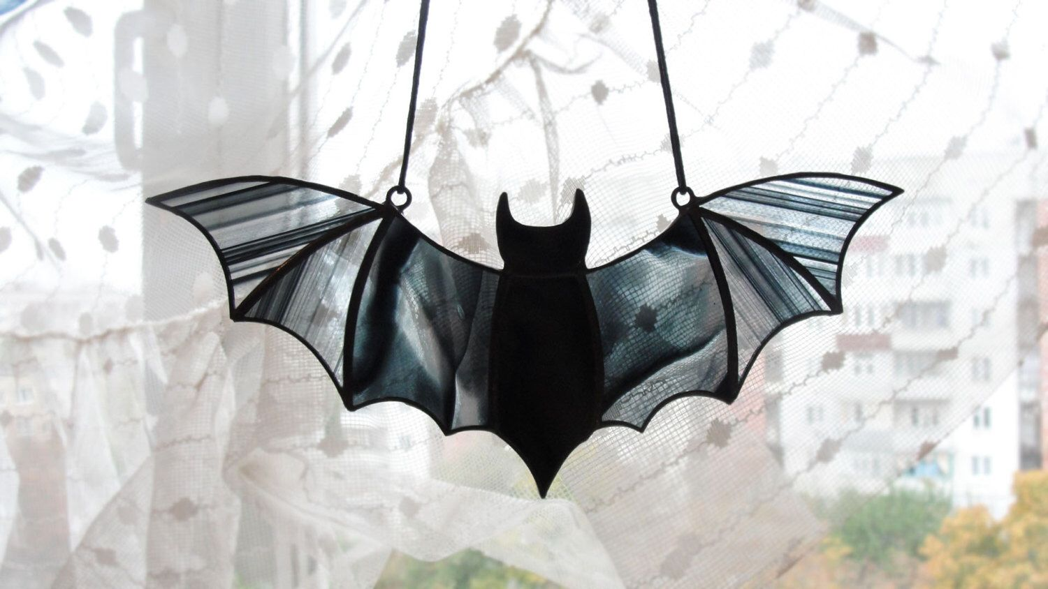 Photo of Halloween Window Decoration Black Stained Glass Bat Suncatch…