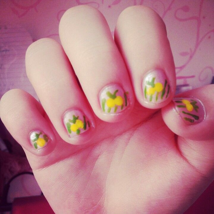Yello Cherry Nail Art