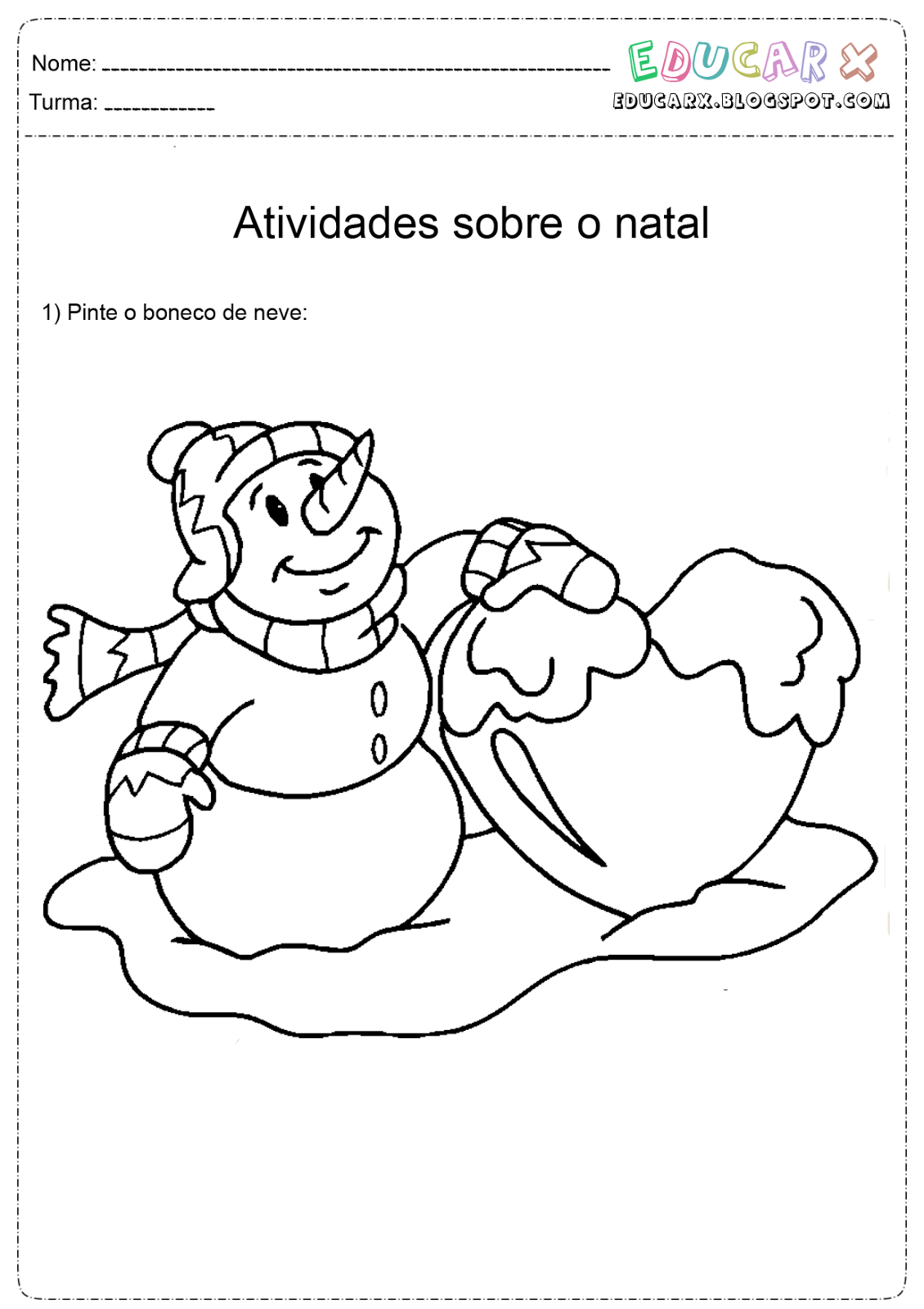 educar x bonecos de neve de natal para colorir e imprimir natal