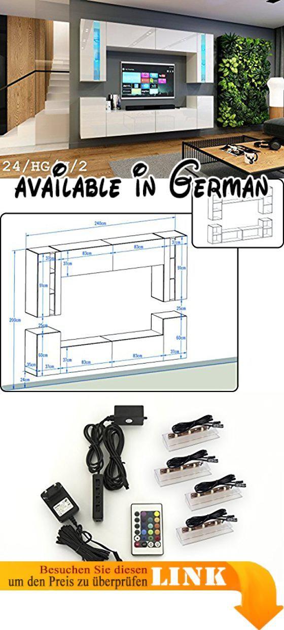 Uberlegen B0714KTPY1 : Wohnwand FUTURE 24 Moderne Wohnwand Exklusive Mediamöbel  TV Schrank Neue Garnitur Große Farbauswahl