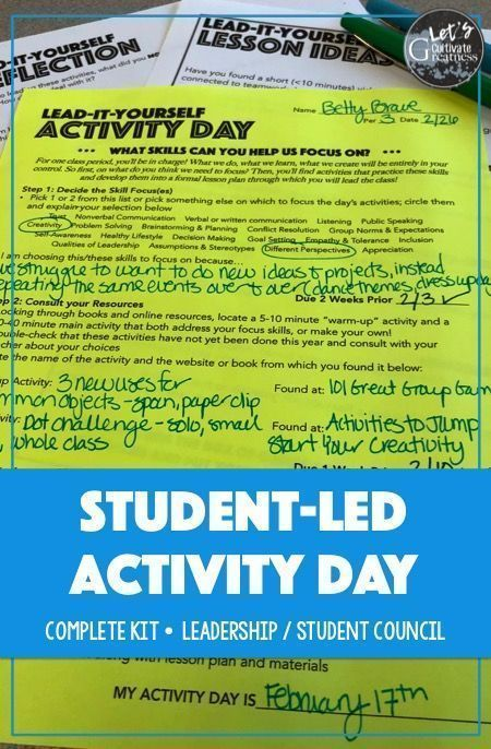 Student-Led Leadership Skills Activity Day Project ...