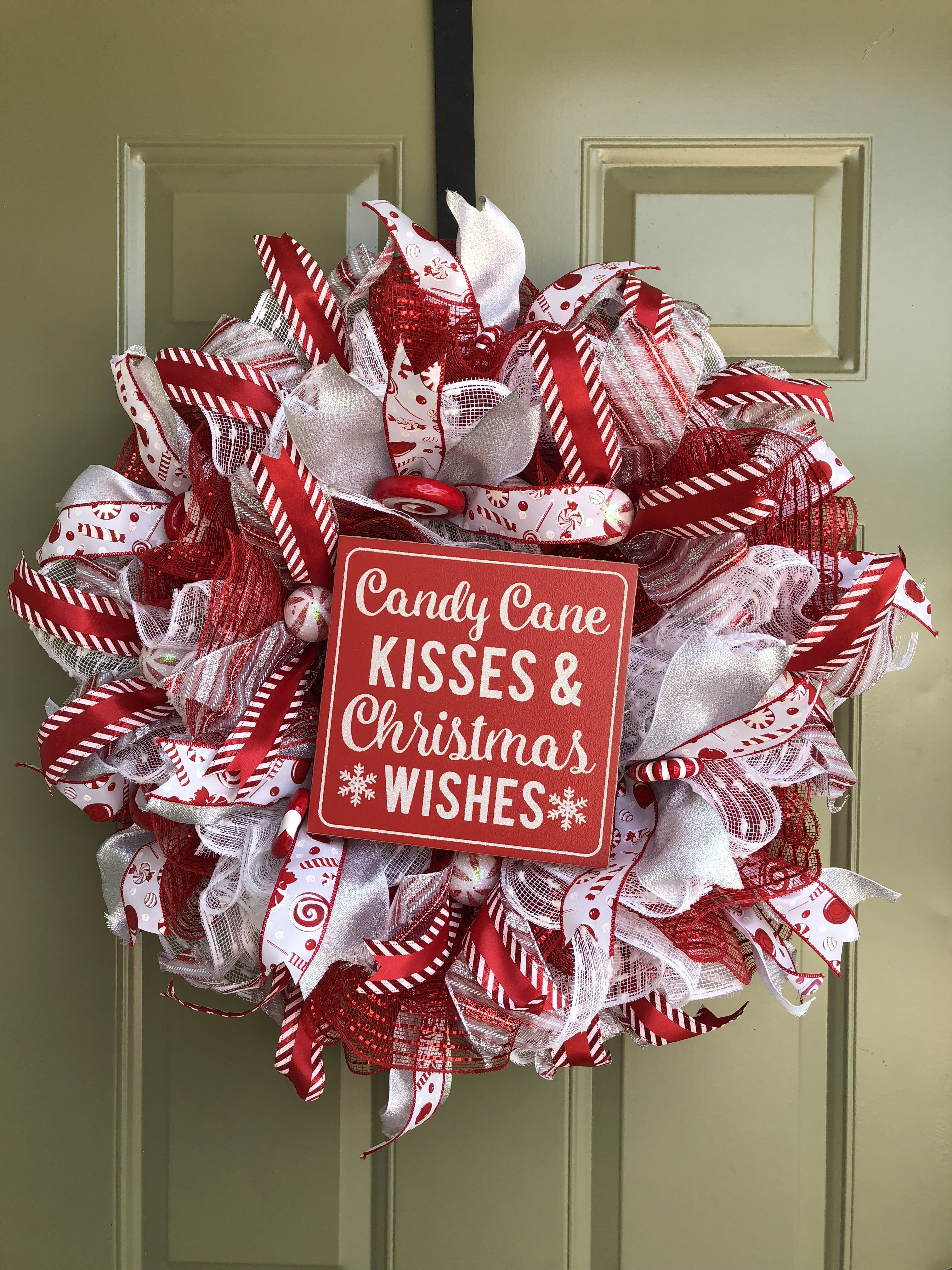 Christmas wreath candy wreath holiday wreath porch decor front