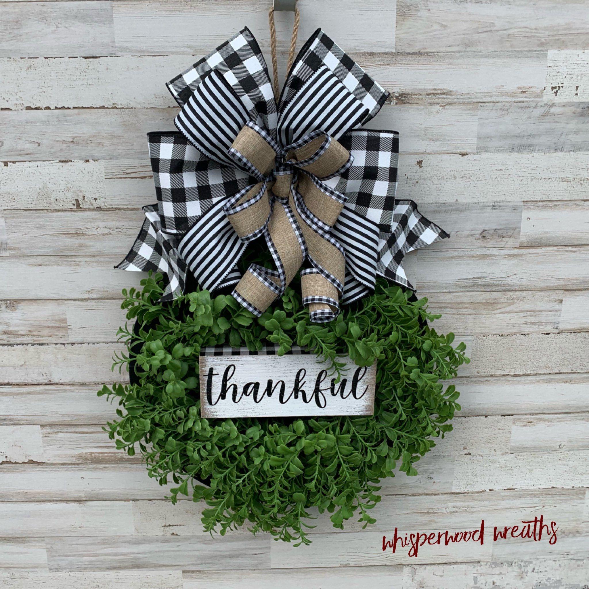 Thankful Round Black Shiplap Style Door Hanger Farmhouse