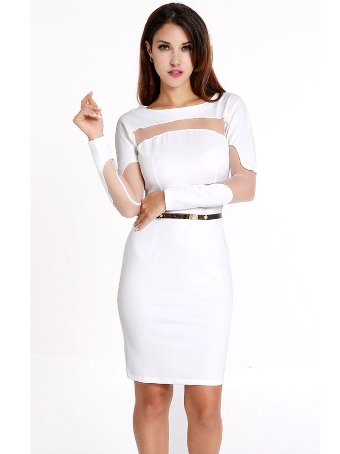 c97e4a969e7 Summer Sexy Fashion Long-Sleeved Round Neck Plus Size Hollow White Bodycon  Dress with Belt