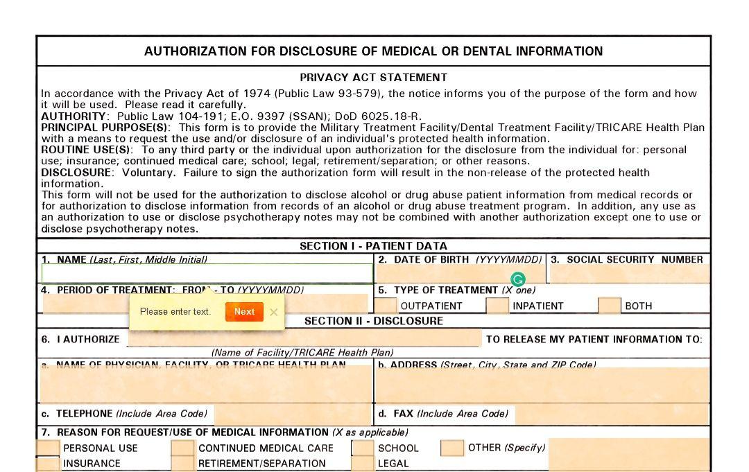 Dd Form 2870 Online Information Privacy Dental Online