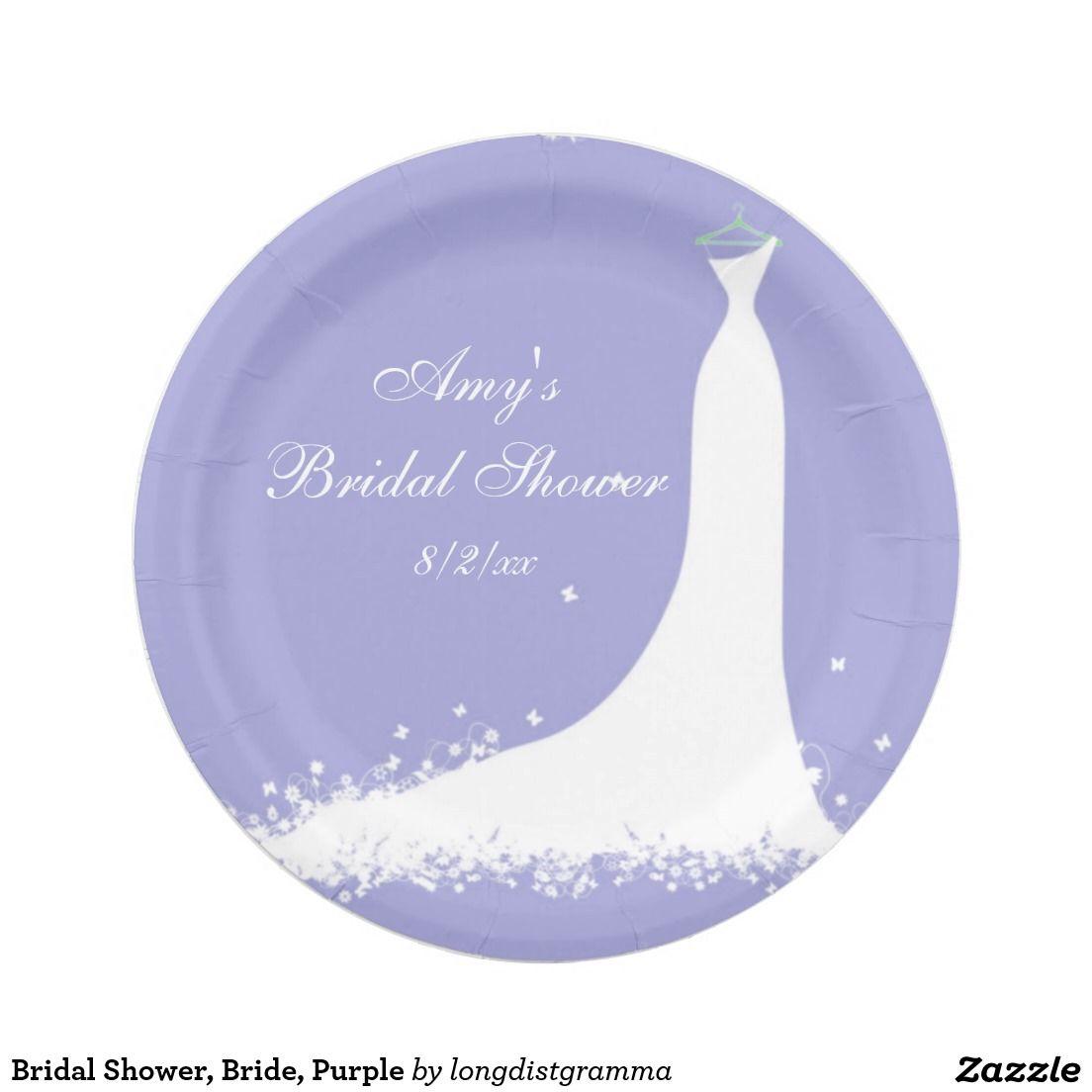 Bridal Shower, Bride, Purple Paper Plate