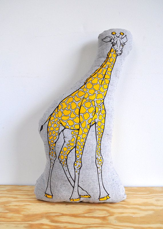Pillow  The Indifferent Giraffe  Plush  Screenprinted  by NewDuds, $32.00
