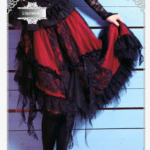 Red and Black Lace High Low Long Gothic Fashion Skirts and Dresses SKU-11406057
