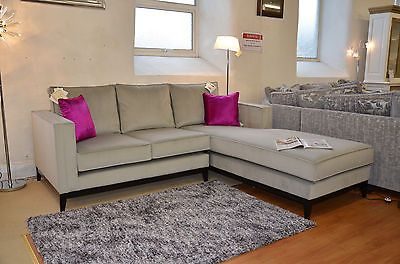 Parker Farr Corner Sofa Silver Velvet Rrp 7280 Less Than Half Price Ex Display