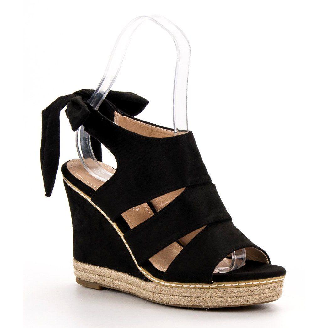 Anesia Paris Sandaly Na Koturnie Czarne Wedge Espadrille Shoes Summer Outfits