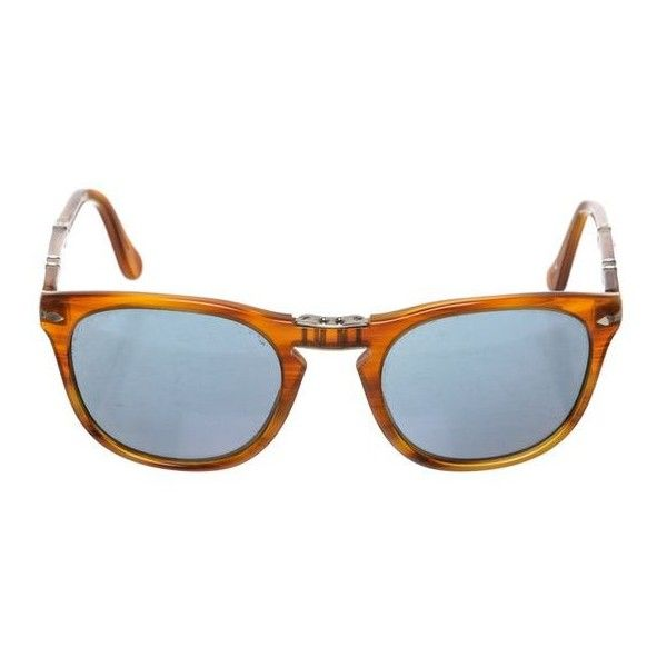 0b503fc7d6392 Pre-Owned Persol Tan Plastic Folding Sunglasses 3028-S ( 195) ❤ liked on  Polyvore featuring accessories