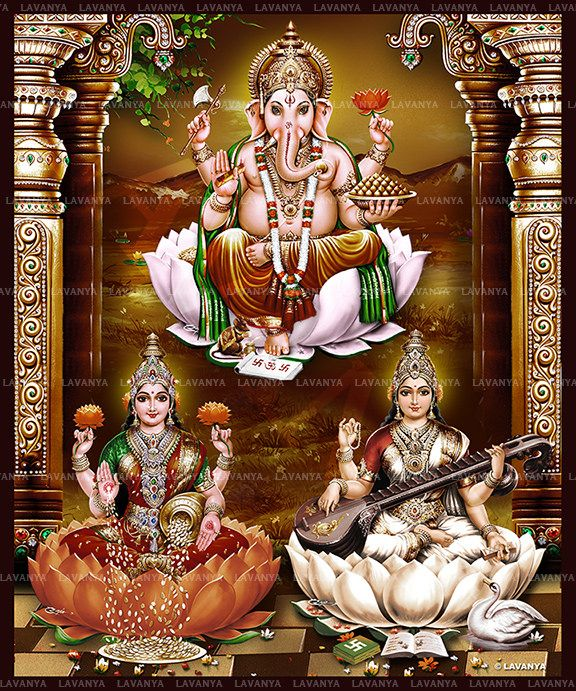 3d Laxmi Ganesh Saraswati Wallpaper #670557