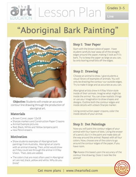 Aboriginal Bark Paintings Free Lesson Plan Download Art Ed Art